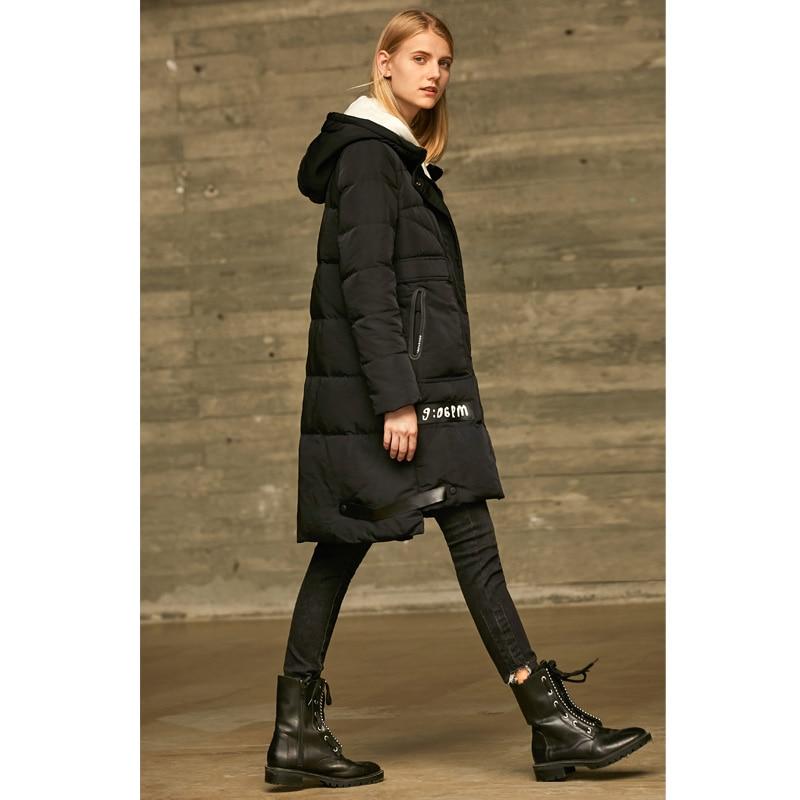 black Coat Canard 90 Épais Manteau Coat Capuche Minimaliste Blanc 2018 Hiver Down Vestes White De Femmes À Amii Causalité Long Spliced Duvet Solide 1Tpq8Bw