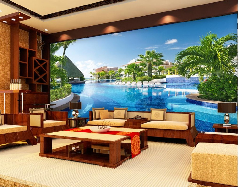 Aliexpress Buy 3d Wallpaper Modern For Living Room Murals Swimming Pool Villa Wall Decoration Mural Non Woven From Reliable