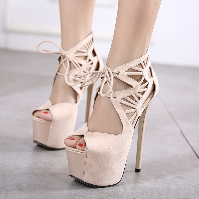 7d3bcd219dee77 New Fashion Waterproof Cross Strap 16CM High Heels Pumps Summer Party  banquet Shoes Women Round Toe