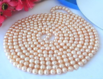 New Arriver Real Pearl Jewellery,100inches Long AA 8-9mm Pink Round Freshwater Pearls Necklace,Free Shipping.