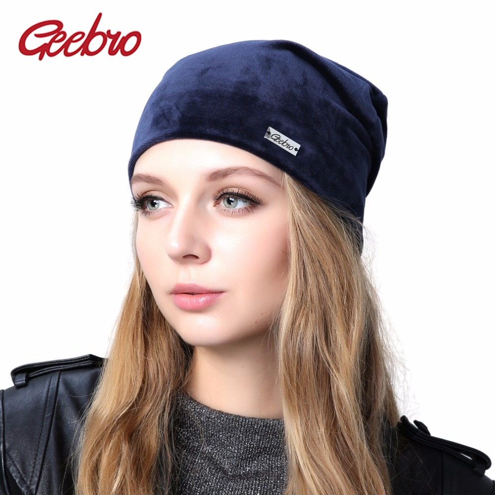 Geebro Women's Velour   Beanie   Hat Winter Warm Polyester Knit   Skullies     Beanies   for Women Female Slouchy Hat Bonnet Cap