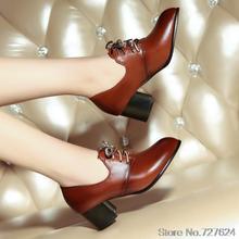 ปั๊มผู้หญิงรองเท้าหนังPUใหม่33 46 45 44 43 42 40ส้นสูง5เซนติเมตรส้นหนาขนาดEUR 32-47