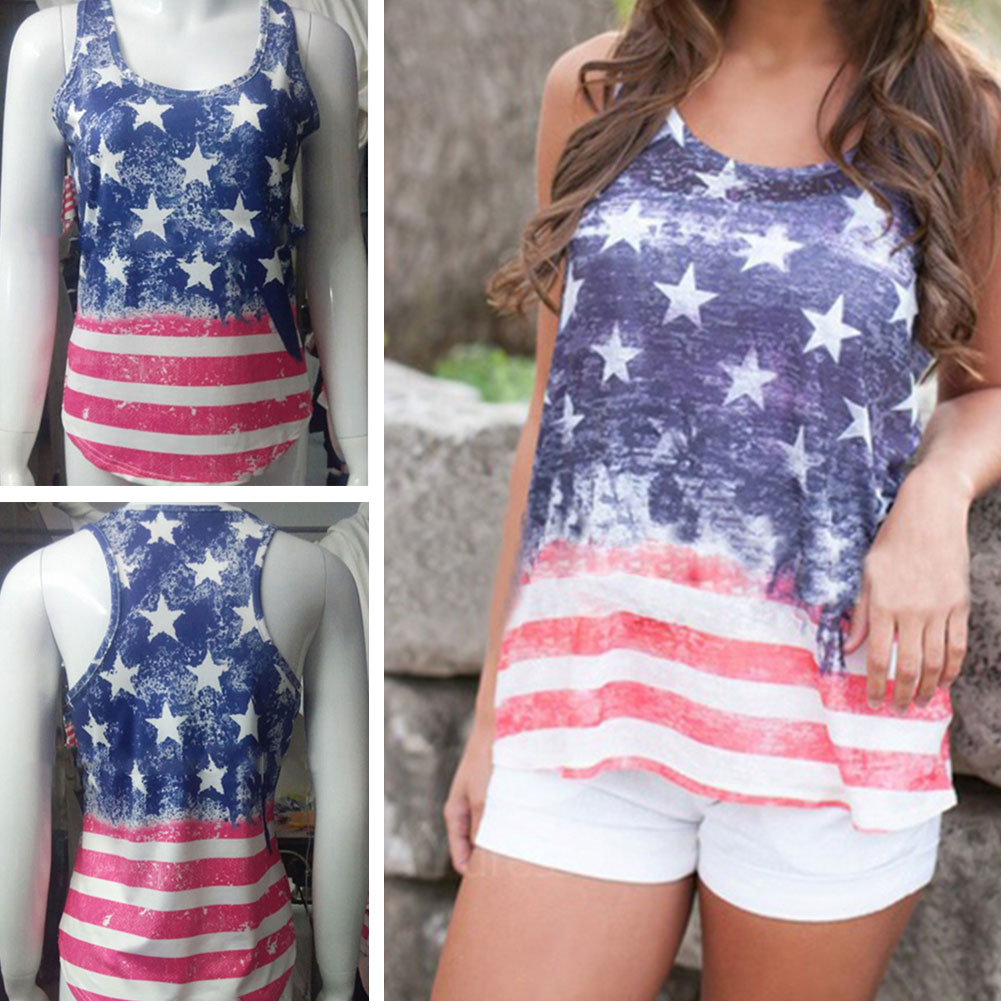 Women Stripe Stars Casual Vest Outfit Clash Sleeveless Loose Short Base T-Shirt Tank Tops Blouse (L)