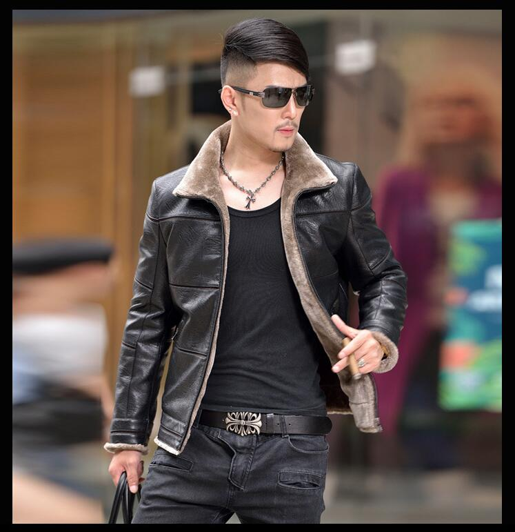 2017 Hot Sale Winter Thick Leather Garment Casual flocking Leather Jacket coats Men's Motorcycle Clothing Leather Jacket Men 5XL