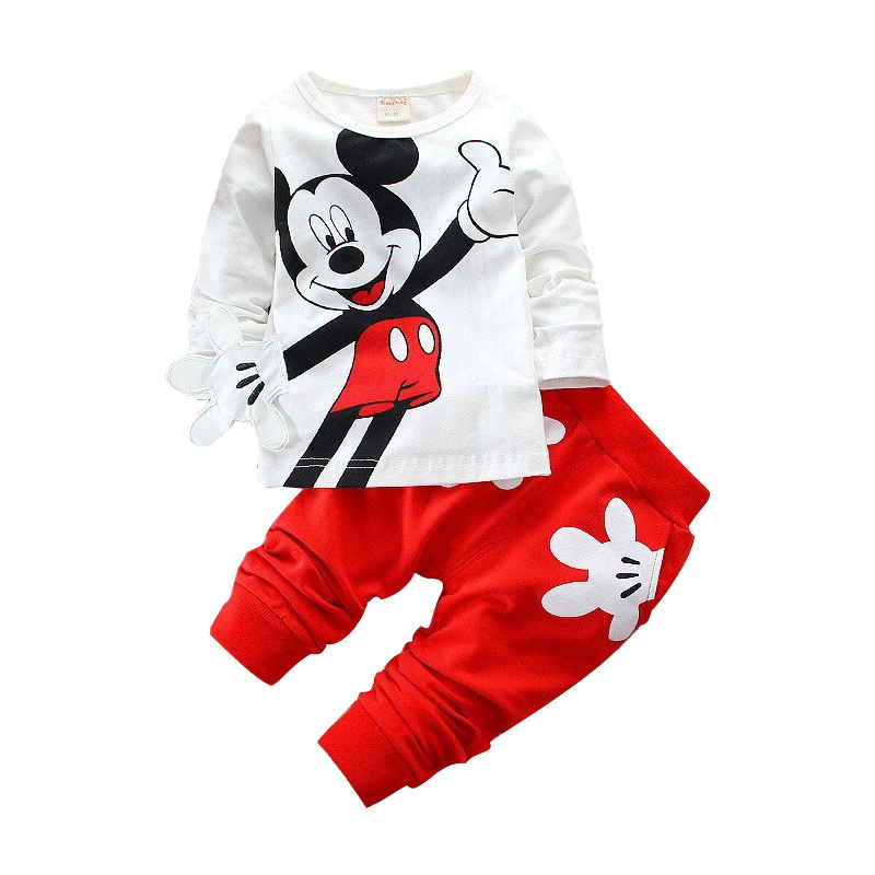 2017 Boys&Girls Cotton Spring sport suit Kids Mickey Minnie Clothing set Kids fashion clothes baby boys&Girls cartoon set kids spring 2017 new fashion korean wave point clothing set baby girls cute cotton clothes suit childern cartoon 3pcs suit