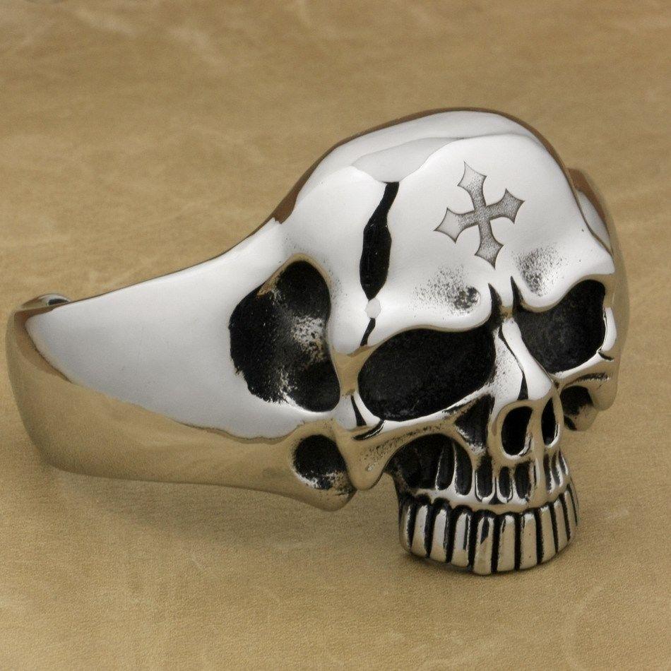 Engraving Service 316L Stainless Steel Deep Engraved Skull Cross Mens Biker Rocker Punk Bangle Cuff 5J122