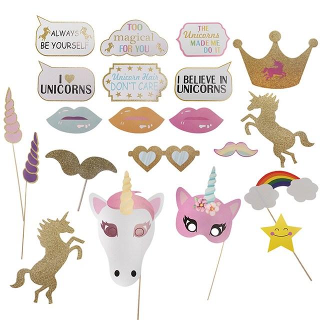26pcslot rainbow unicorns diy photo booth props stick carnival 26pcslot rainbow unicorns diy photo booth props stick carnival birthday party favors christmas decorations solutioingenieria Images
