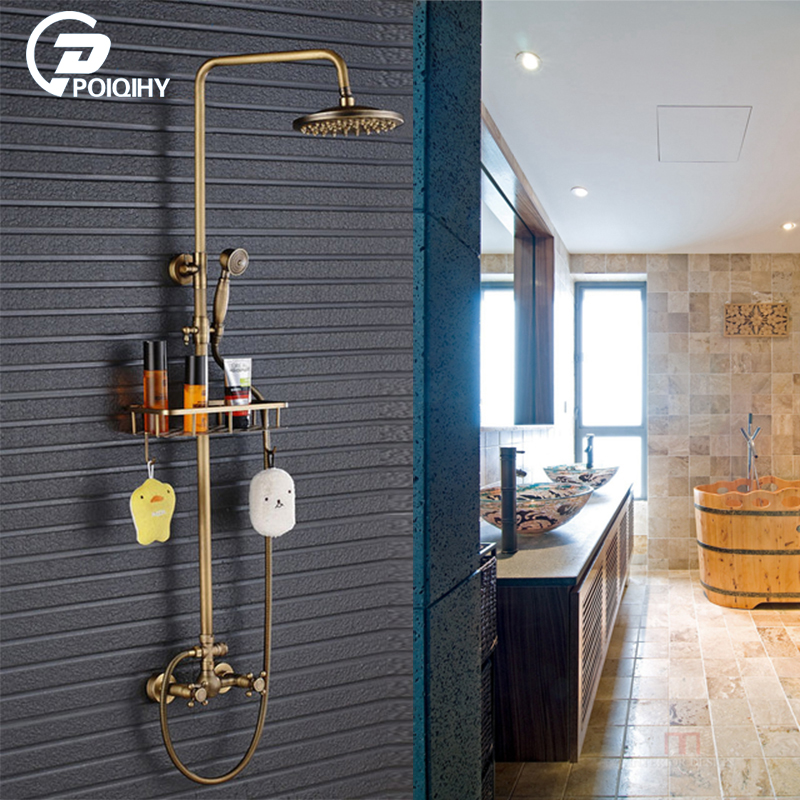 цена на POIQIHY Antique Brass Rainfall 8 Brass Shower Set Faucet Dual Handle Shower Mixer Tap