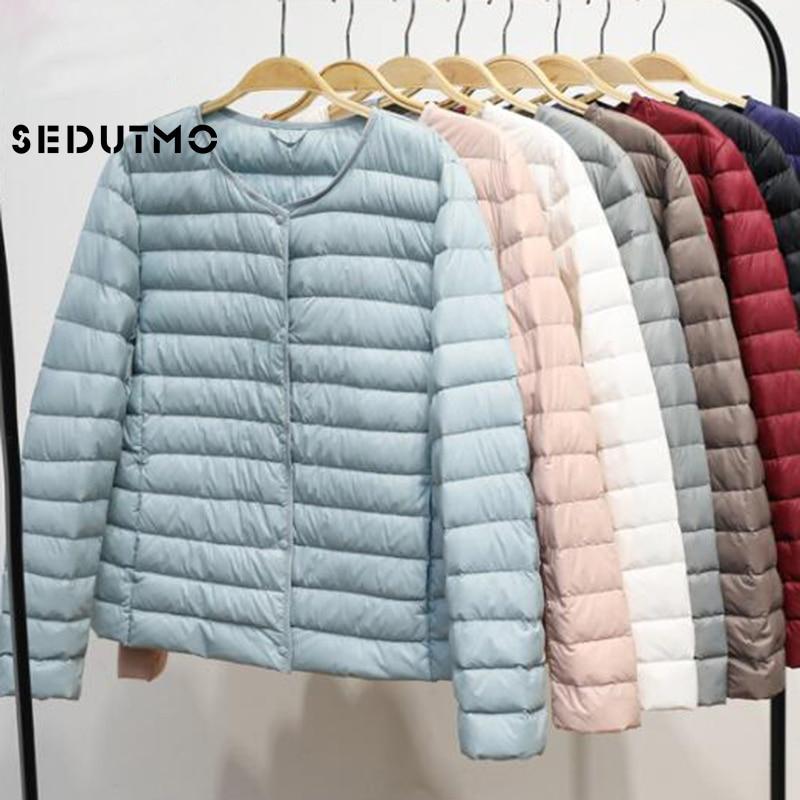 SEDUTMO Winter Plus Size 4XL Womens Down Jacket Ultra Light Duck Down Coat Short Autumn Slim Short Puffer Jacket ED617