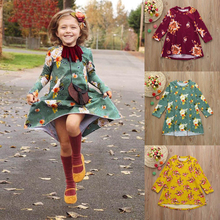 hot deal buy 2019 baby girls dresses toddler infant kids baby girls dress floral print sun long sleeve party dresses baby clothes outfits