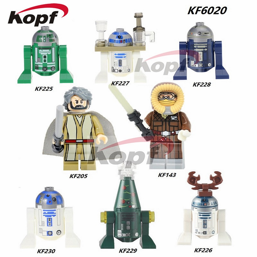R3D5 R3-D5 Reindeer R2D2 With Tray Blue Robot BB8 Han Solo Luke Skywalker Star Wars Building Blocks Children Gift Toys KF6020 no 300pc 8 bb 3