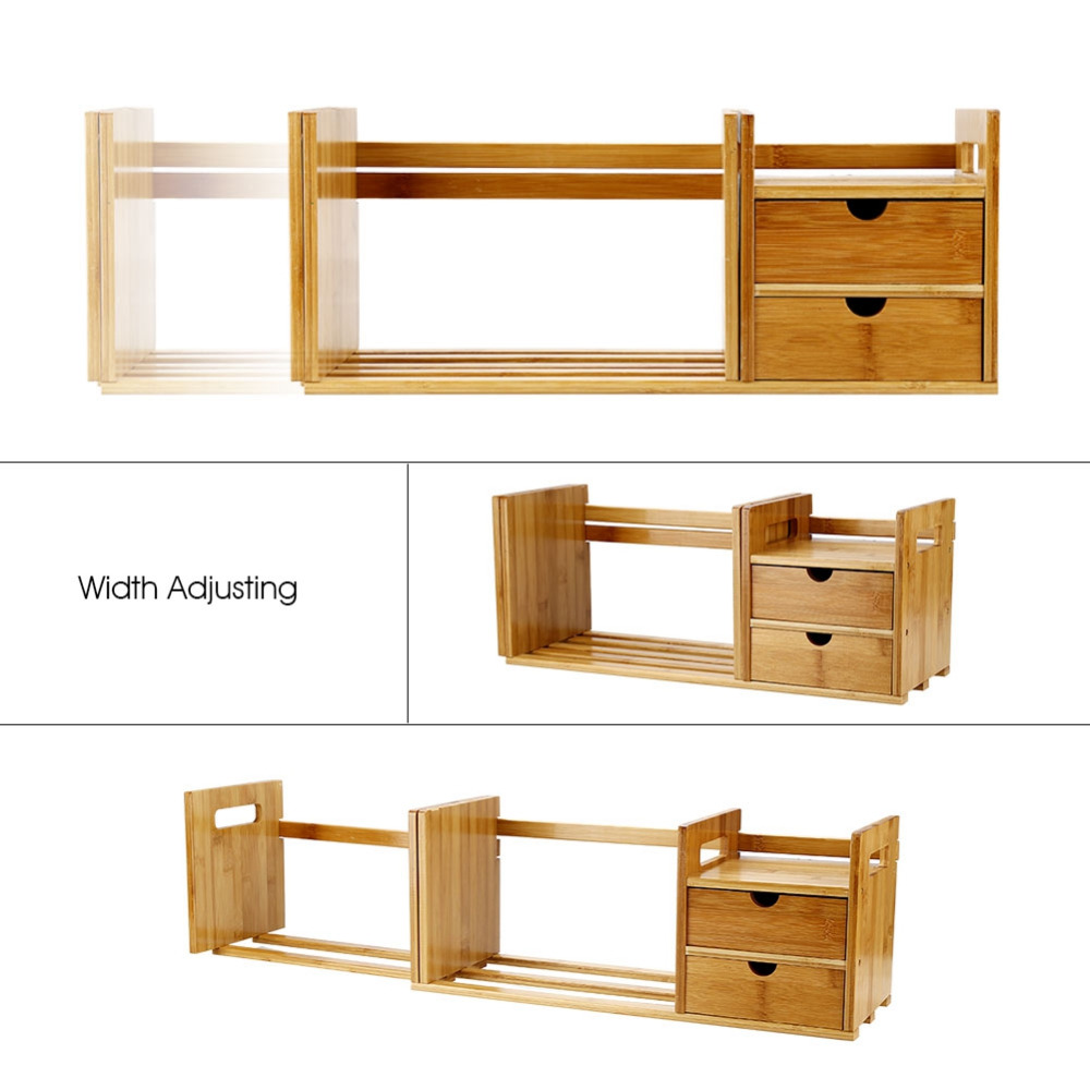 Image 5 - Tabletop Bookcase Bamboo Wood Extendable Desk Tabletop Book Rack Bookshelves Bookcase Organizer with 2 Drawer Tabletop kirjahyll-in Bookcases from Furniture