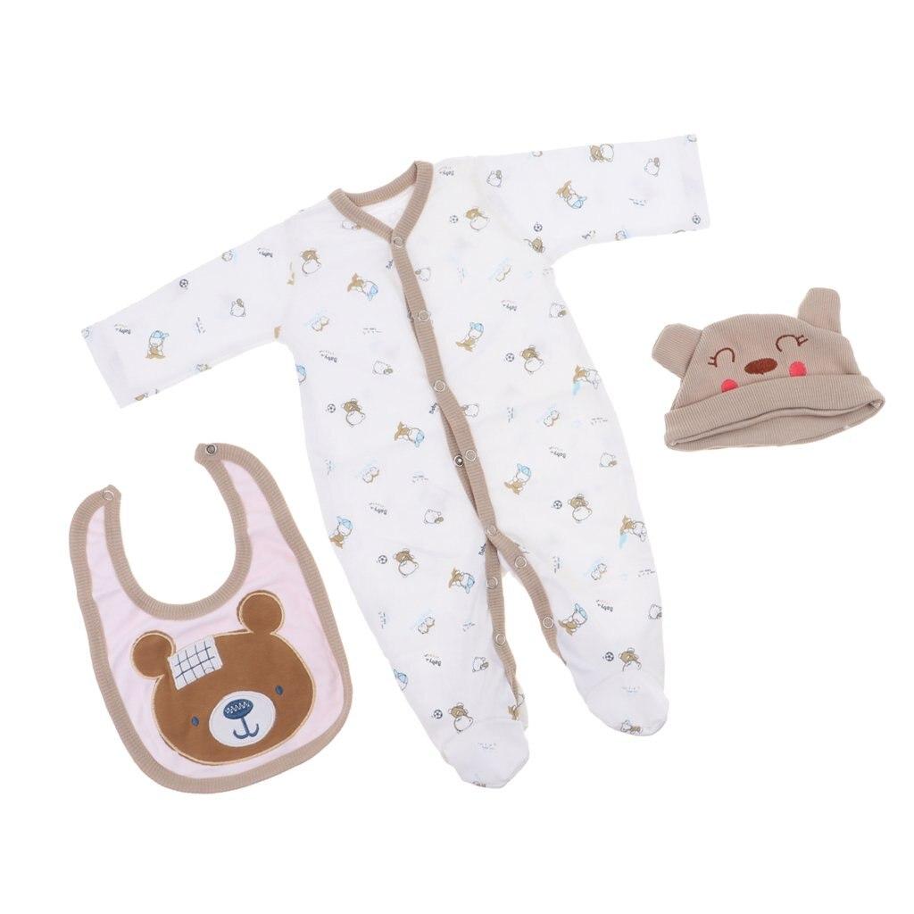 "Newborn Baby Doll Clothes for 22/""-23/"" Reborn Boy Doll Rompers Bib Bear Hat"