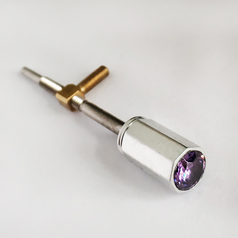 Купить с кэшбэком Violin Frog Button 4/4 Size Aluminum Fitting with Purple Gem Gemstone Insert Frog Screw Eyelet