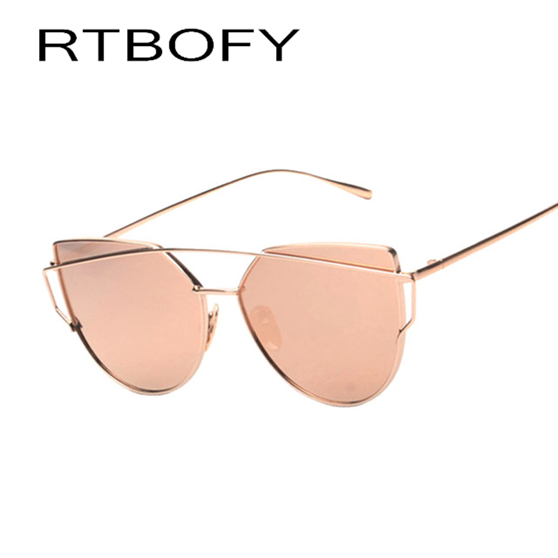 Cat eye Women Sunglasses 2017 New Brand Design Mirror Flat Rose Gold Vintage Cateye Fashion Sun Glasses lady Eyewear UV400