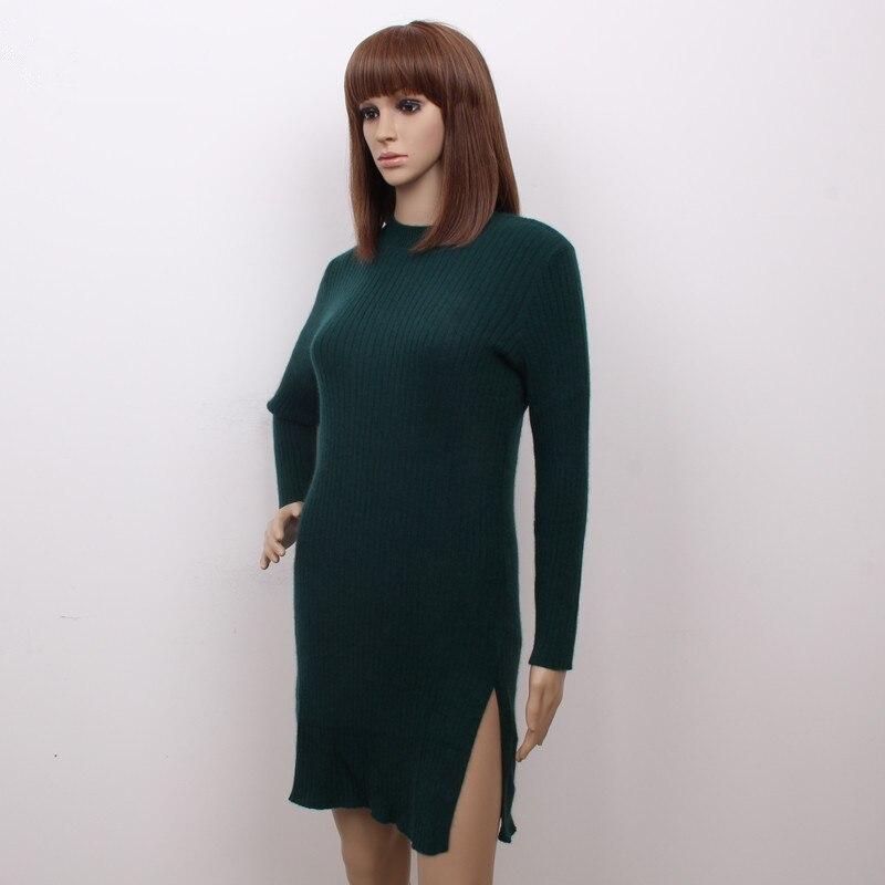 100%goat cashmere women's fashion mid long pullover sweater dress semi high collar open hem 3colors S/90 5XL/125