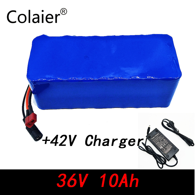 36V 10000mAh 500W High Power and Capacity 42V 18650 Lithium Battery Motorcycle Electric Car Bicycle Scooter with + 2A Charger