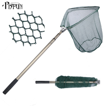 Pisfun 185cm Folding Fishing Net Triangular Landing Fishing Network 3 Section Telescopic Hand High Strength Fish Net