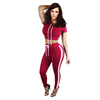 Yuerlian Women Short Sleeve Hooded Jumpsuits 2 Pieces Outfits 2017 Hot Lady Crop Top Long Pants
