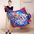 [Baoshidi] 100% moda lenço de seda, 16 m/m de espessura, infinito 135*135 lenços das mulheres, elegante marca lenços, xaile das senhoras, mulher hijab