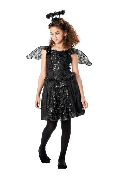 10 12 age black lace girls angell angelhood angel halloween costume wings antennafancy - Halloween Girl Dress Up