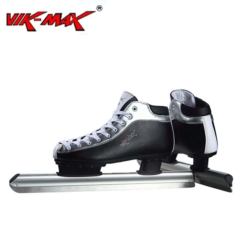 VIK-MAX Adult Kids Leather Ice Speed Skate Shoes With Aluminium Alloy frame and Stainless Steel ice blade professional long track ice blade 330mm 380mm 430mm 7075 alunimium alloy base frame for kids ice speed skates and adults