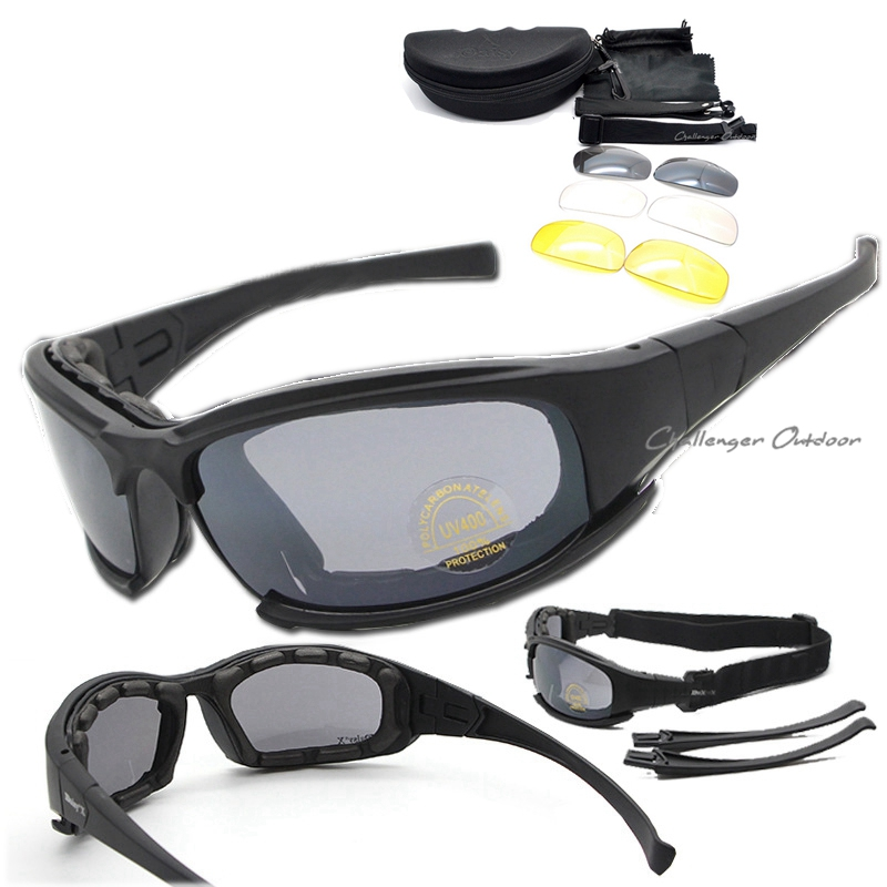 Polarized DAISY. X7 Army Sunglasses, Military Goggles 4 Lens Kit, War Game Tactical Outdoor Mens Glasses