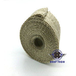 """Image 2 - 10m x  2"""" Free Shipping  Beige Exhaust Muffler Pipe Header Heat Resistant Exhaust Wrap With 10 Pcs Stainless Steel Cable Ties"""