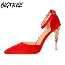 BIGTREE лето женщины насосы высоких каблуках женской обуви Мода Острым Носом Пряжка Ремешка насосы партии Украшение Металла шпильках обувь