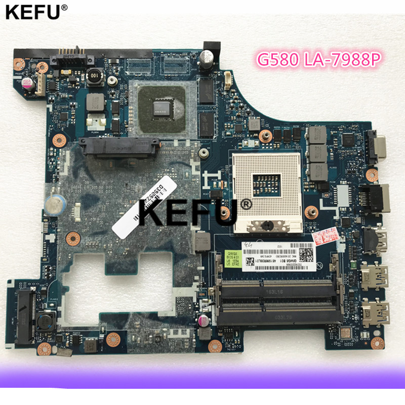 High Quality Motherboard For Lenovo G580 Motherboard 90002355 QIWG6 LA-7988P SLJ8E HM76 PGA989 DDR3 Fully Tested high quality suitable for lenovo y500 laptop motherboard qiqy6 la 8692p pga989 gt650m 2gb ddr3 hm76 package well