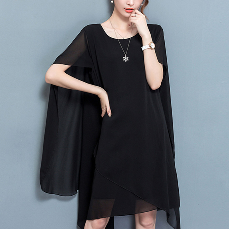 Women Chiffon Dress Loose Sun Protective Cloak Design Slim Fit Dress for Summer -MX8