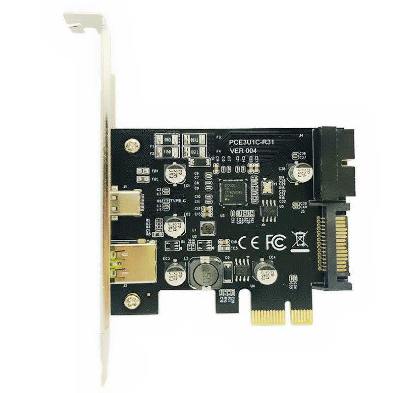 PCI-Express PCI-e To <font><b>USB</b></font> <font><b>3.1</b></font> Type-C Riser Post Card <font><b>PCIe</b></font> to <font><b>USB</b></font>-C 2.4A Fast Charger+19PIN Front <font><b>USB</b></font> Miner Expansion Adapter Card image