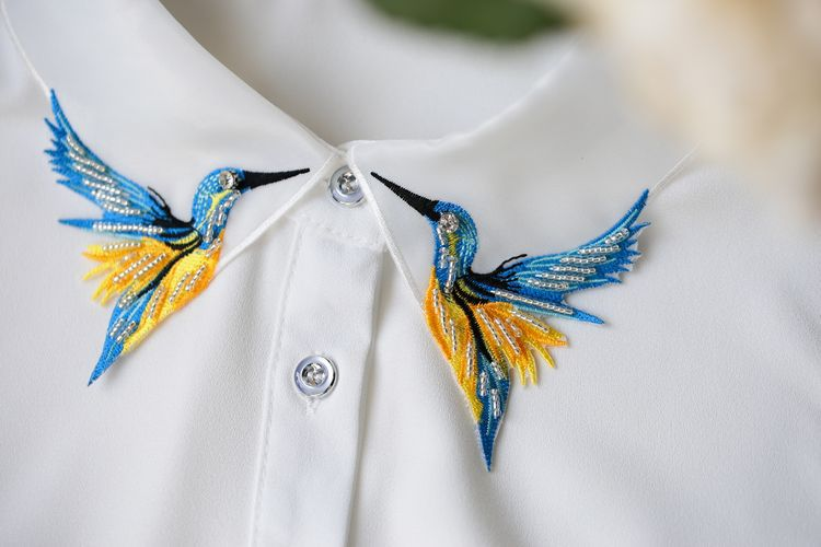 Fesyen Reka Bentuk Baru Burung sulaman bordir kalung rompi baju Tali - Pakaian wanita - Foto 6