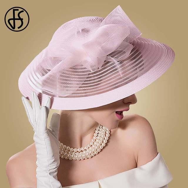 aff361d3b66 FS Black White Wedding Large Wide Brim Women Hats Vintage Fedoras Elegant  Bow Kentucky Derby Church Tea Party Hat Chapeau Feutre-in Fedoras from  Apparel ...
