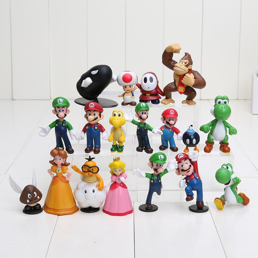 18pcs/lot Super Mario Bros Figure Yoshi Dinosaur Mario Luigi Toad Princess Peach Daisy Action Toy Figures