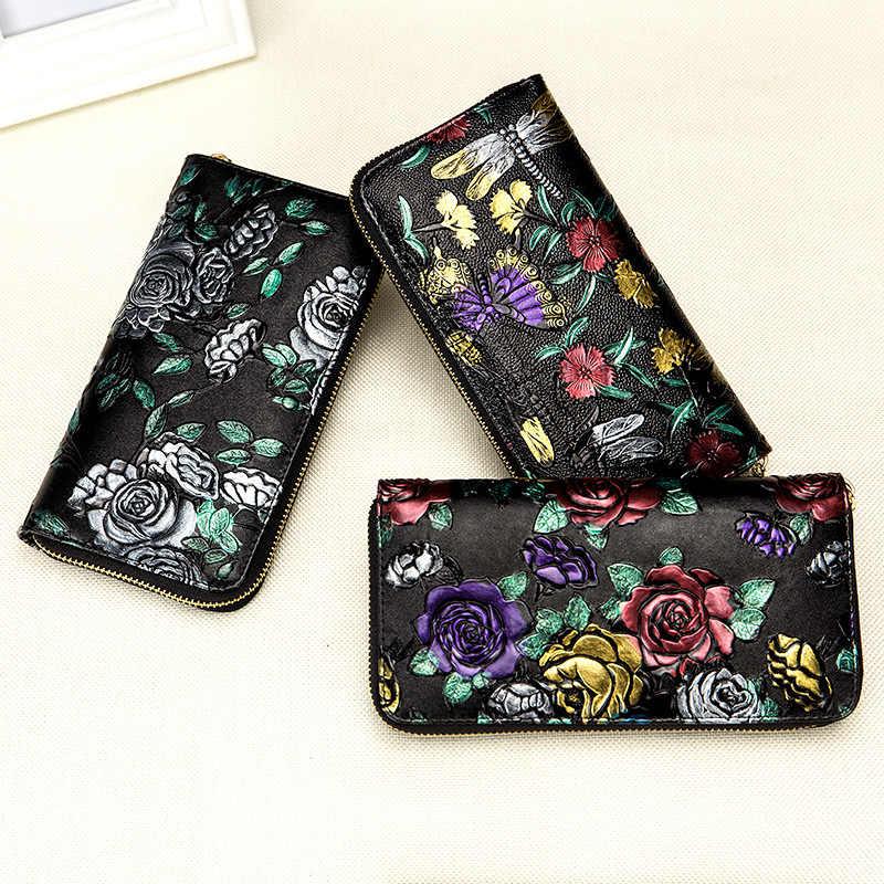 HMILY Mode Frauen Brieftasche Aus Leder Weiblichen Geldbörse Vintage Lange Geld Tasche Damen Klassischen Kartenhalter Reißverschluss Handytasche Weibliche