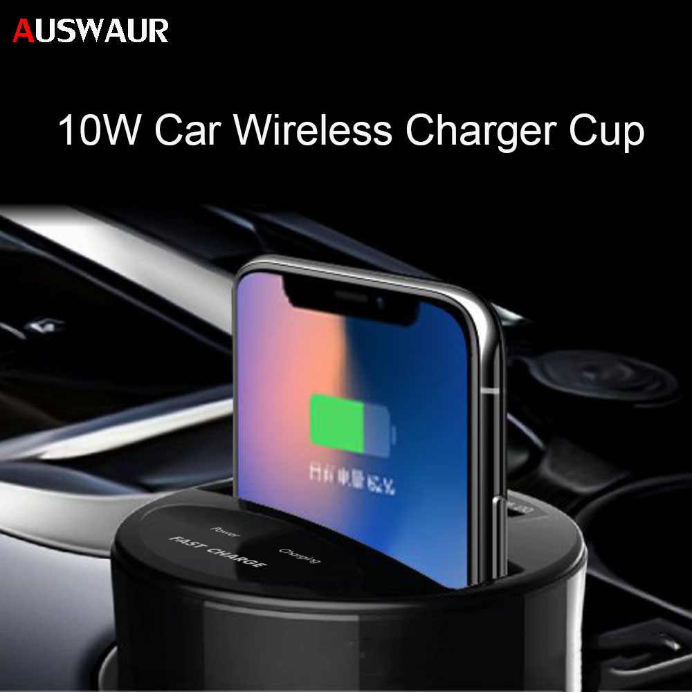 10W Mobil Charger Nirkabel Cup untuk Iphonexs Max/XR/X/8 Galaxy S9/S8/ s7/S6/Note8 Mobil Pemegang Charger dengan USB Charger Ponsel