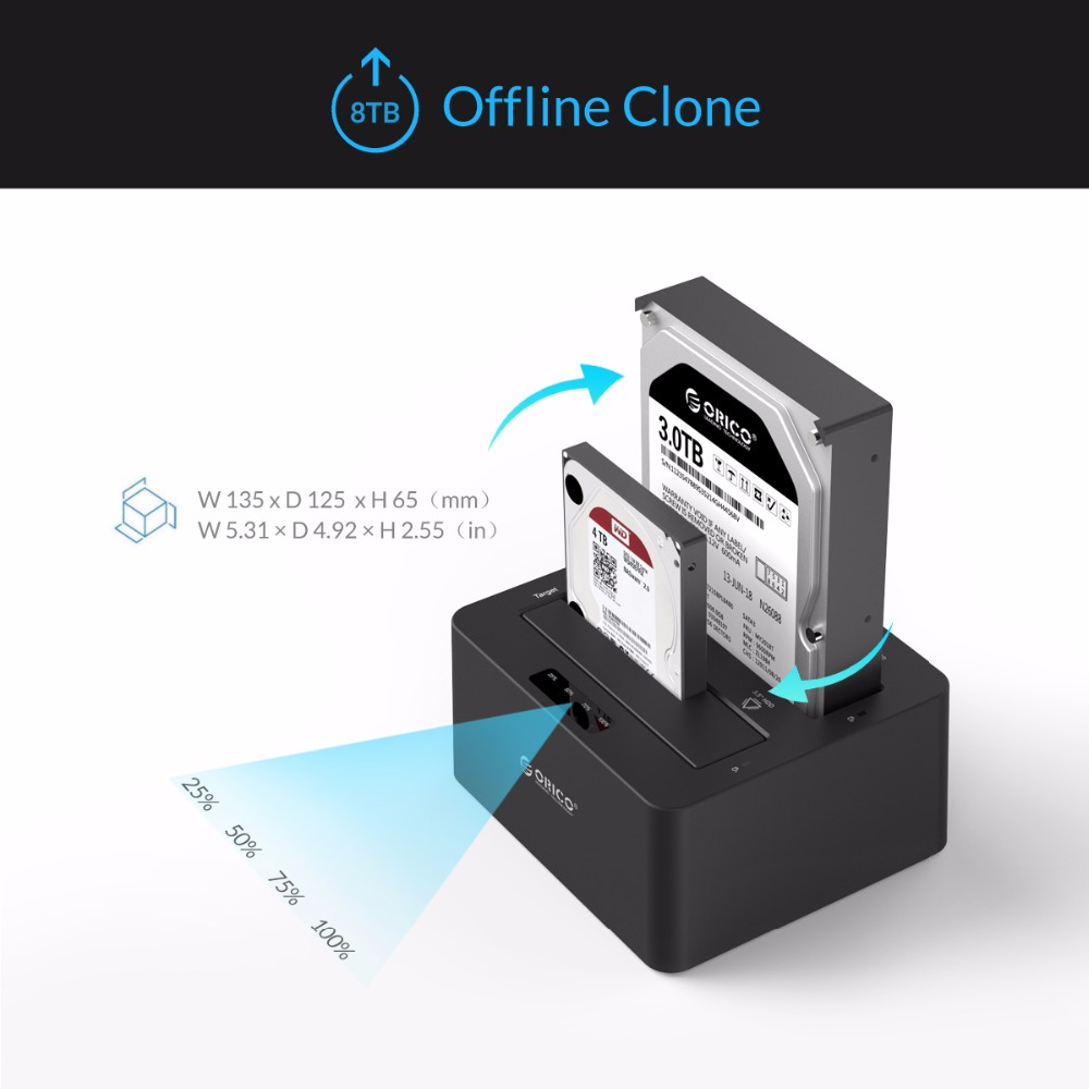 ORICO 6629US3 2-bay disque dur externe Station D'accueil USB3.0 à SATA 2.5 3.5 Dans avec Hors Ligne Clone Support UASP Protocole 16 TB - 5