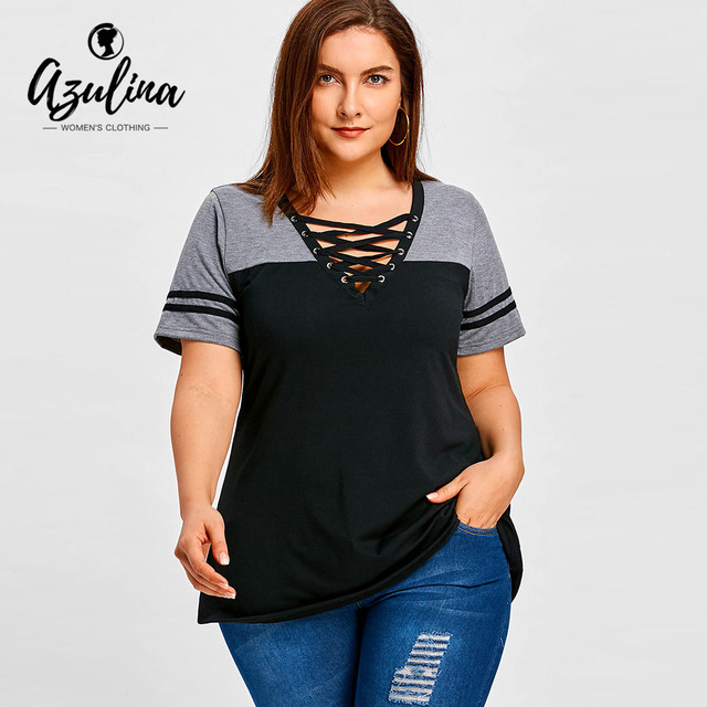 7c458c9fb3ada6 AZULINA Plus Size Lace Up Color Block T-Shirt Summer Top V-Neck Short  Sleeve T Shirt Women Tops Tees 2018 Casual Ladies Clothes