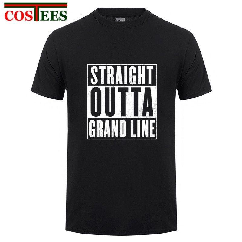 Straight outta grand line T shirt men one piece luffy t-shirt shanks mugiwara Tees straw hat pirate tshirt anime manga Tee shirt