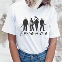 Футболка для девочек с принтом «Друзья ужасов», летняя модная женская футболка, новинка, повседневные топы в хипстерском стиле, крутая женс...