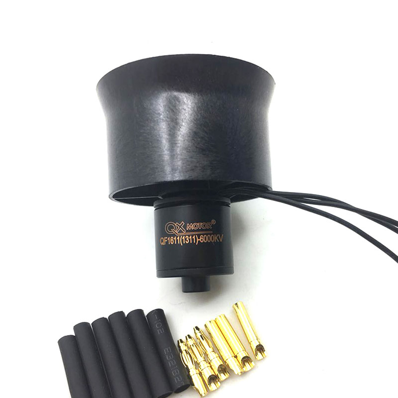 QX-Motor Brand New DIY Drone EDF Parts 30mm 6 Blades Ducted Fan EDF  QF1611 6000KV Brushless Motor For RC Airplanes 5 blade 64mm outrunner ducted fan 4300kv brushless motor 30a esc for lipo rc jet edf plane airplane fan