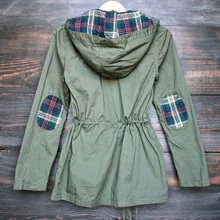 EIFFTER Women Spring Autumn Jackets 2017 New Casual Ladies Long Sleeve Plaid Hooded Military Parka Army Green Outerwear ZM0089