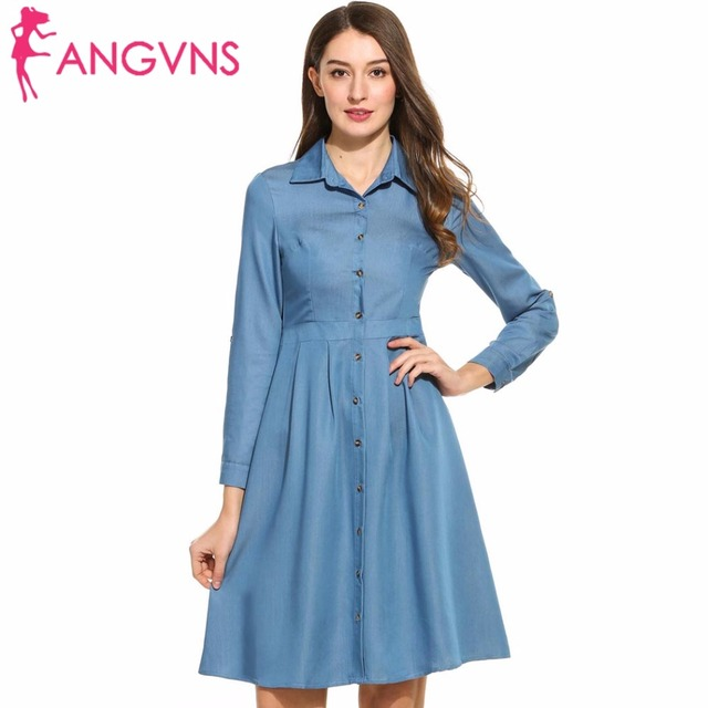 2f0bddb6a1d ANGVNS Denim Dress 1950s 60s Big Swing Women Vintage Roll Up Sleeve Spring  Jeans Cowboy Dress Elegant Tunic Casual Vestido S-XXL