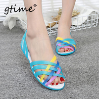 Gtime Dropshipping 2019 Summer New Flat Hole Shoes Female Beach Jelly Sandals Simple Rainbow Plastic Sandals SCYR011