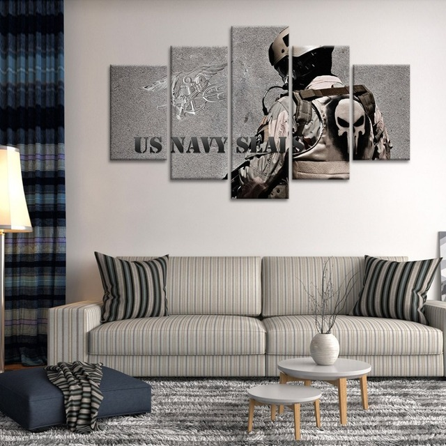 Framed Hd Print 5pcs Canvas Wall Art Abstract Us Navy Painting Modern Home Decor