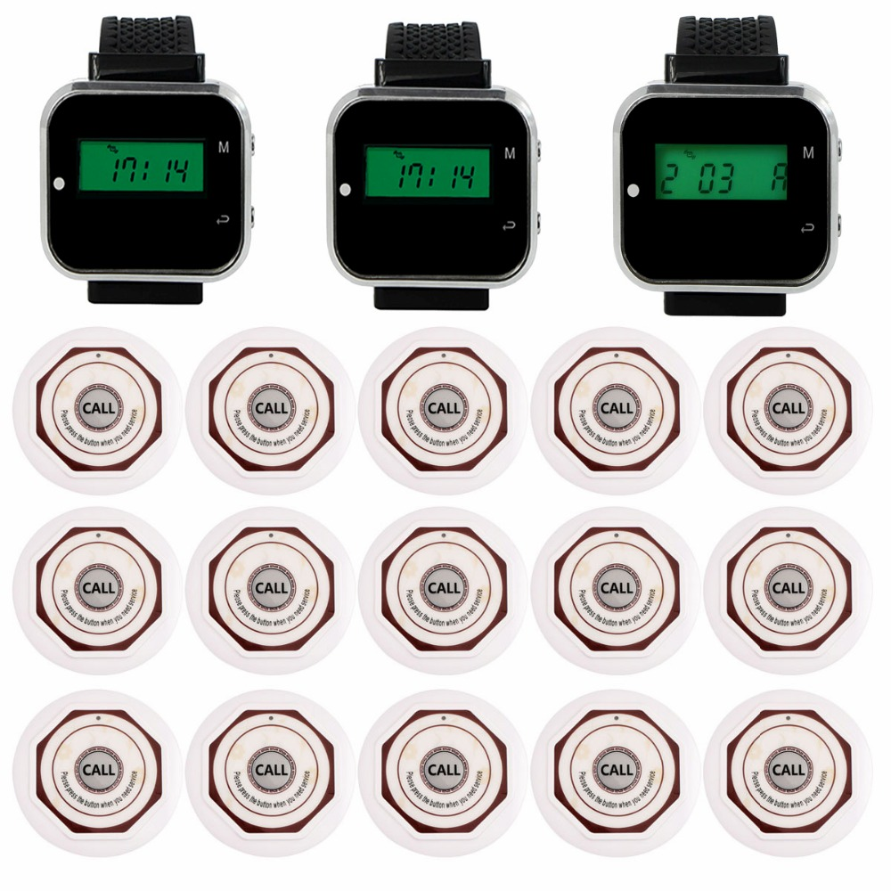 3pcs Watch Wrist Receiver +15pcs Call Transmitter Waterproof Button Wireless Bar Service Calling System Restaurants Equipment wireless service calling system paging system for hospital welfare center 1 table button and 1 pc of wrist watch receiver