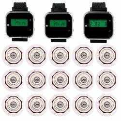 3pcs Watch Wrist Receiver +15pcs Call Transmitter Waterproof Button Wireless Bar Service Calling System Restaurants Equipment