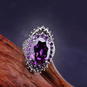 new 925 Sterling Silver jewelry  Women's purple semi-precious stone Ring Opening pop personality rings