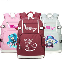 Hatsune Miku Cosplay Pink Backpack Bags Laptop School Travel Book Bags Teenagers Girls Boys Rucksack Gift